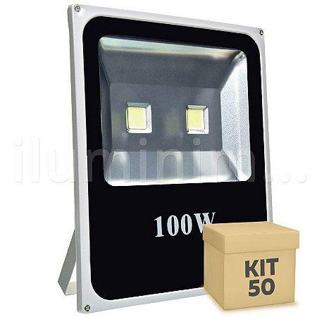 Kit 50 Refletor Holofote LED 100w Branco Frio