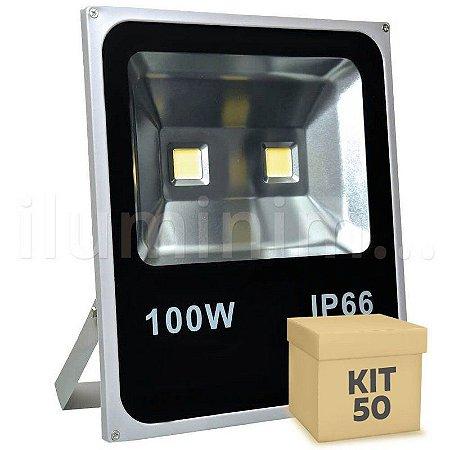 Kit 50 Refletor Holofote LED 100w Branco Quente