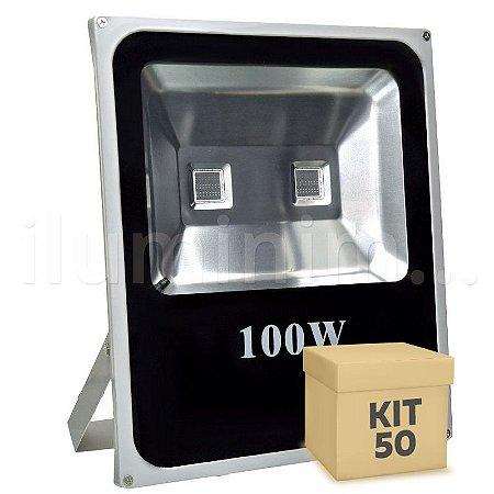 Kit 50 Refletor Holofote LED 100w RGB Colorido c/ Controle