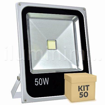 Kit 50 Refletor Holofote LED 50w Branco Frio