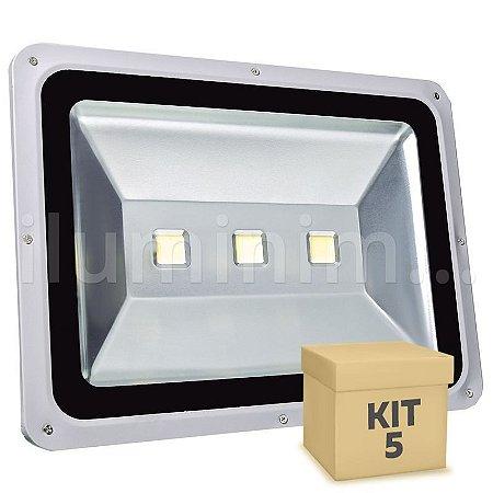 Kit 5 Refletor Holofote LED 150w Branco Frio