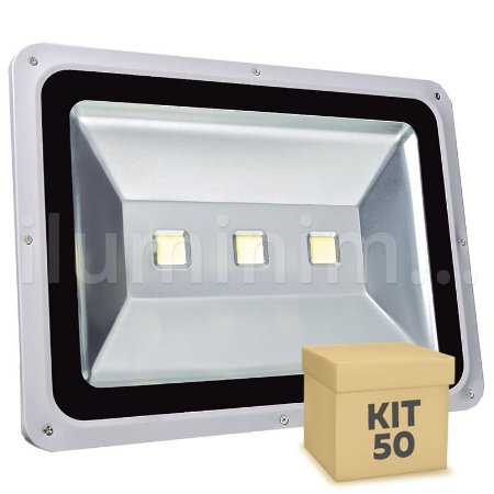 Kit 50 Refletor Holofote LED 150w Branco Frio