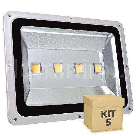 Kit 5 Refletor Holofote LED 200w Branco Quente