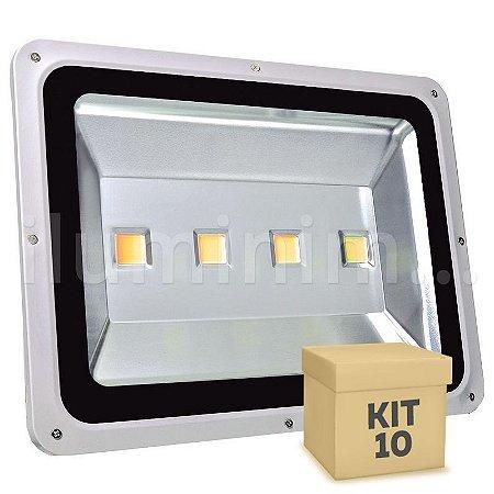 Kit 10 Refletor Holofote LED 200w Branco Quente