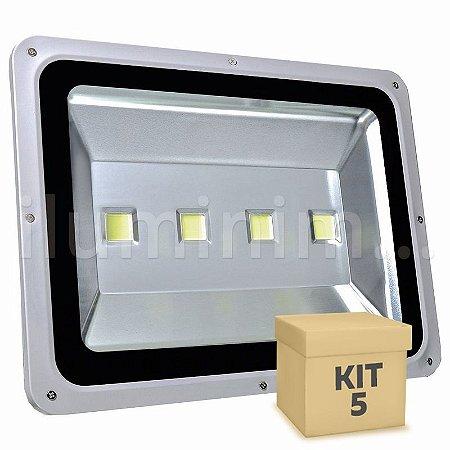 Kit 5 Refletor Holofote LED 200w Branco Frio