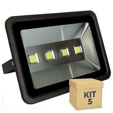 Kit 5 Refletor Holofote LED 200w Branco Frio Preto