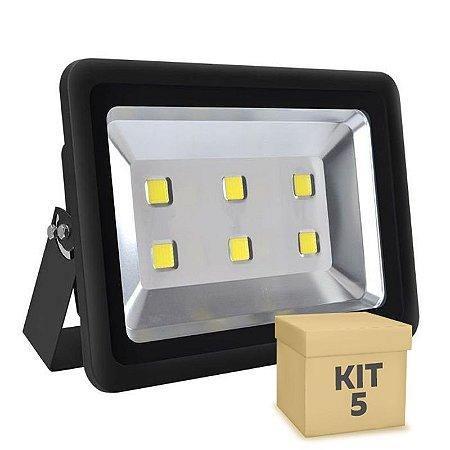 Kit 5 Refletor Holofote LED 300w Branco Frio Preto