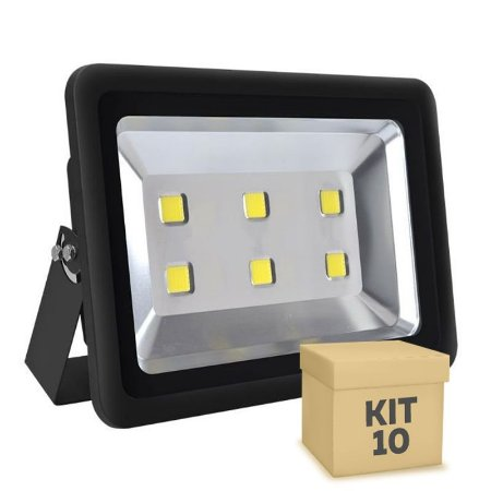 Kit 10 Refletor Holofote LED 300w Branco Frio Preto