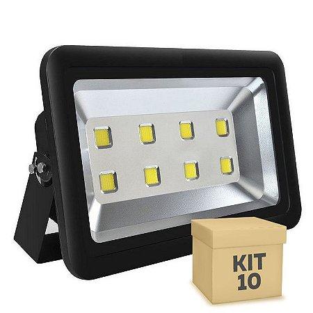 Kit 10 Refletor Holofote LED 400w Branco Frio Preto