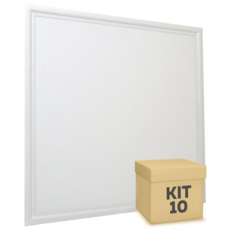 Kit 10 Luminária Plafon 60x60 48W LED Embutir Branco Frio Borda Branca