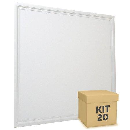 Kit 20 Luminária Plafon 60x60 48W LED Embutir Branco Frio Borda Branca
