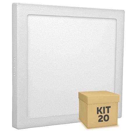 Kit 20 Luminária Plafon 25w LED Sobrepor Branco Quente