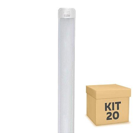 Kit 20 Tubular LED Sobrepor Completa 36W 1,20m Branco Frio   Inmetro