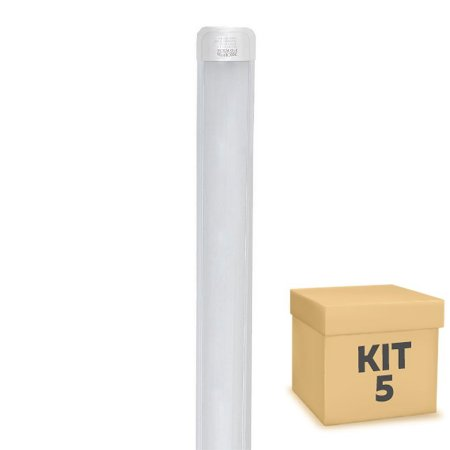 Kit 5 Tubular LED Sobrepor Completa 36W 1,20m Branco Quente | Inmetro