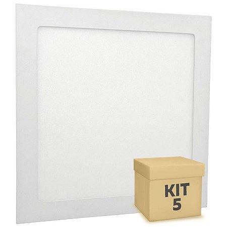 Kit 5 Luminária Plafon 18w LED Embutir Branco Neutro