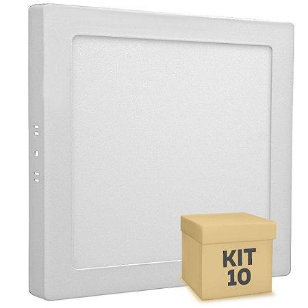 Kit 10 Luminária Plafon 18w LED Sobrepor Branco Neutro