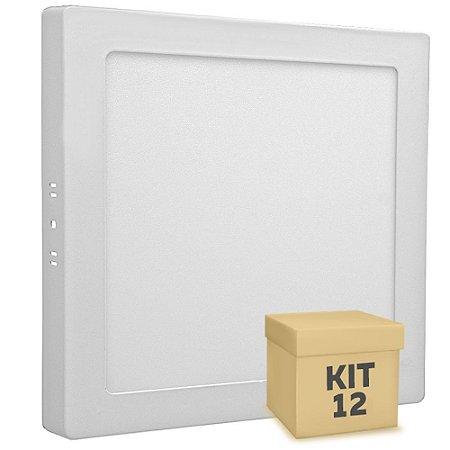 Kit 12 Luminária Plafon 18w LED Sobrepor Branco Neutro