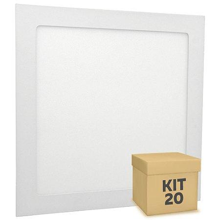 Kit 20 Luminária Plafon 25w LED Embutir Branco Neutro