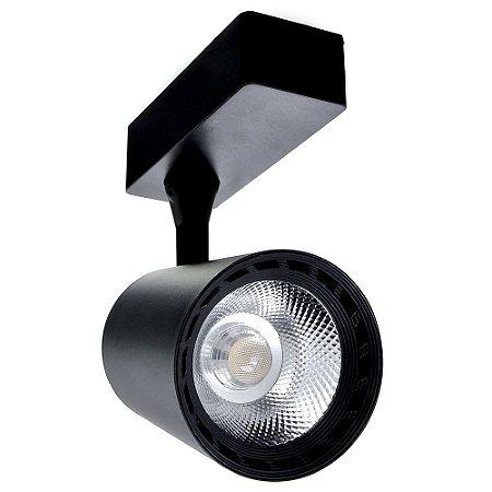 Spot LED 12W Branco Quente para Trilho Eletrificado Preto