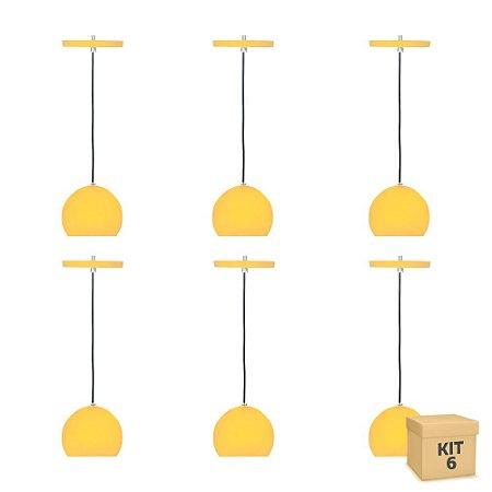 Kit 6 Pendente Alumínio Amarelo Redondo