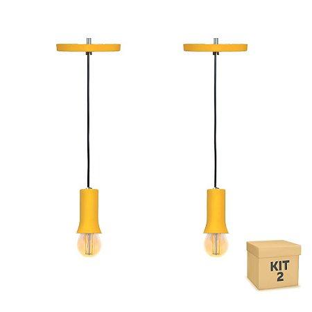 Kit 2 Pendente Alumínio Amarelo Cone