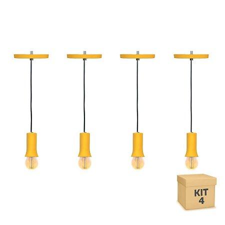 Kit 4 Pendente Alumínio Amarelo Cone