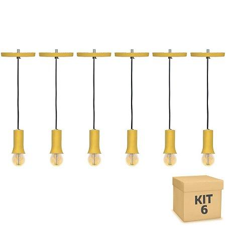 Kit 6 Pendente Alumínio Amarelo Cone