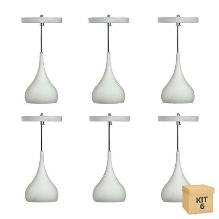 Kit 6 Pendente Alumínio Branco Gota