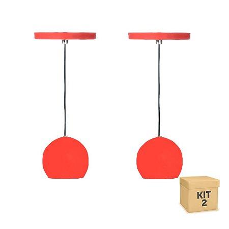 Kit 2 Pendente Alumínio Vermelho Redondo