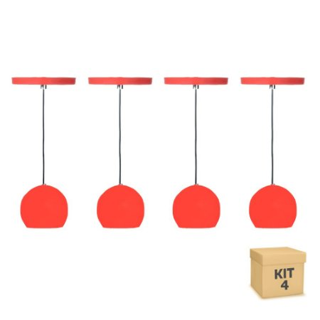 Kit 4 Pendente Alumínio Vermelho Redondo