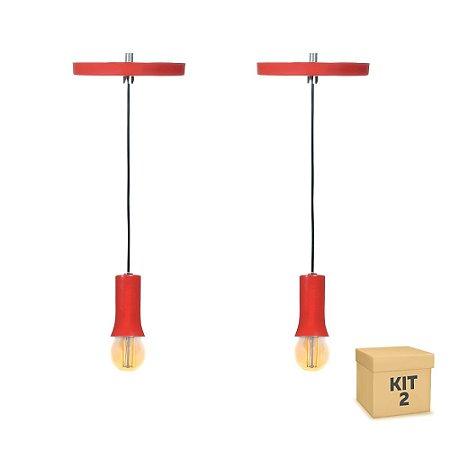 Kit 2  Pendente Alumínio Vermelho Cone