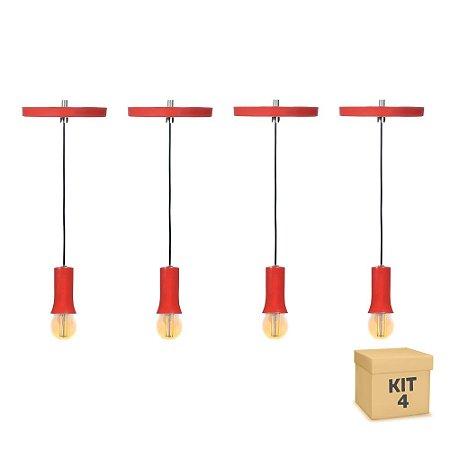 Kit 4  Pendente Alumínio Vermelho Cone