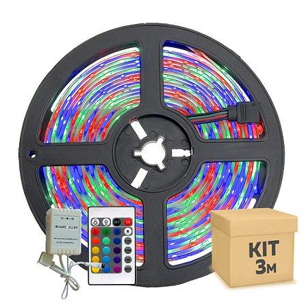 Fita Led RGB Colorida 5050 3 metros com Fonte/Carregador - À prova d'água