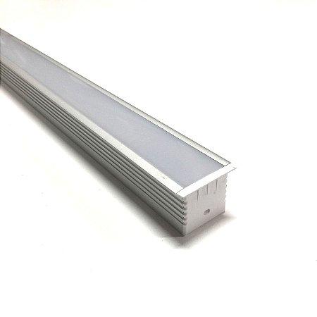 Luminária LED Perfil Linear Retangular de Embutir 60cm
