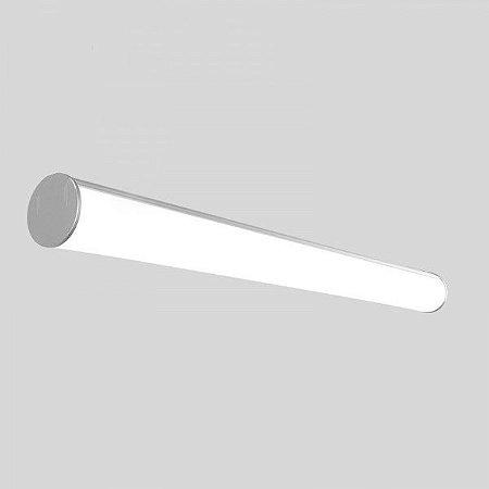 Luminária LED 48w Perfil Linear Redonda de Sobrepor 150cm
