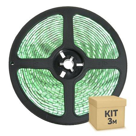 Fita LED Verde 3528 3 metros com Fonte