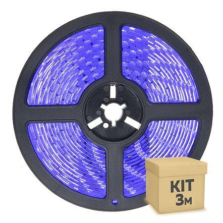 Fita LED Azul 5050 3 metros IP65 com Fonte