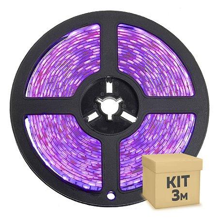 Fita LED Rosa 3528 3 metros com Fonte/Carregador IP65 - À prova d'água