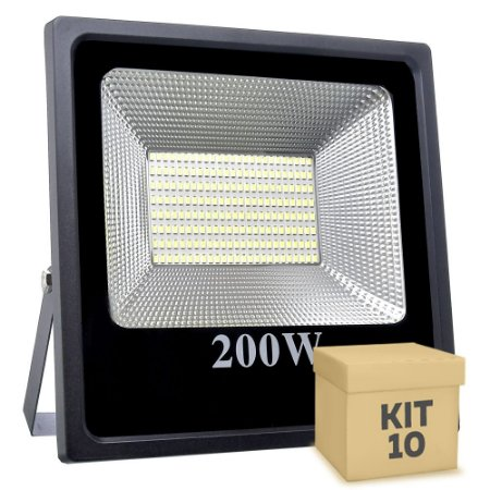 Kit 10 Refletor Holofote MicroLED Slim 200W Branco Frio