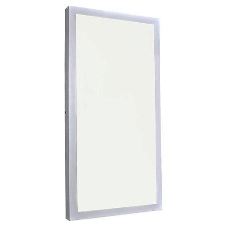 Luminária Plafon 30x60 24W LED Sobrepor Branco Quente Borda Branca
