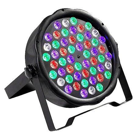 Refletor Holofote LED Par64 RGB Digital 54 Leds para Festa
