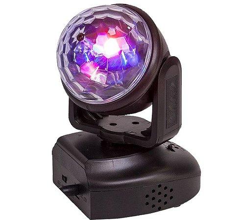 Mini Moving Head Rgb Bola Maluca Sensor De Som Luz Festa 6w
