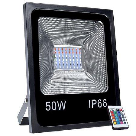 Refletor Holofote MicroLED SMD 50W RGB Colorido com Controle