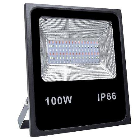 Refletor Holofote MicroLED SMD 100W RGB Colorido com Controle