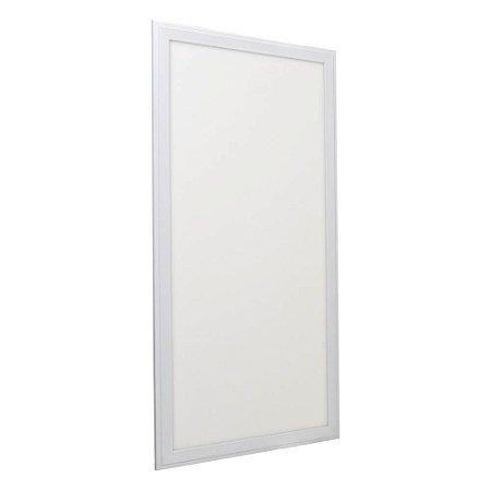 Luminária Plafon 30x60 36W LED Embutir Branco Quente Borda Branca
