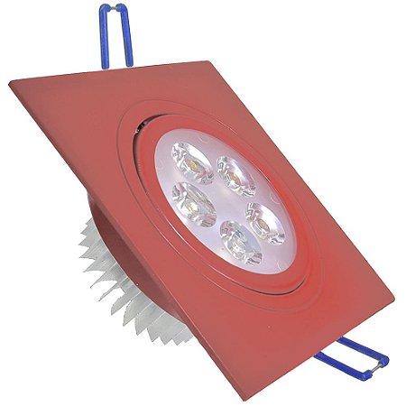 Spot 5W Dicróica LED Direcionavel Base Vermelho