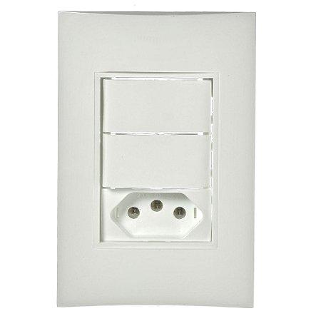 Conjunto 2 Interruptores Paralelos + 1 Tomada 2P+T de Embutir 10A Branco