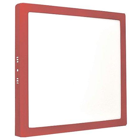 Luminária Plafon 25w LED Sobrepor Branco Quente Vermelho