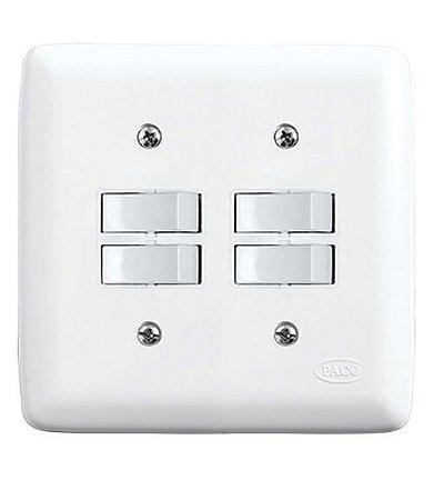 Conjunto 4 Interruptores Simples 10A 250V Branco