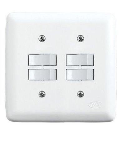 Conjunto 2 Interruptores Simples + 2 Interruptores Paralelos 10A 250V